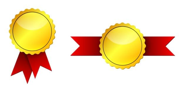 赤いリボンが付いた金メダル。白い背景で隔離の金メダルのセット