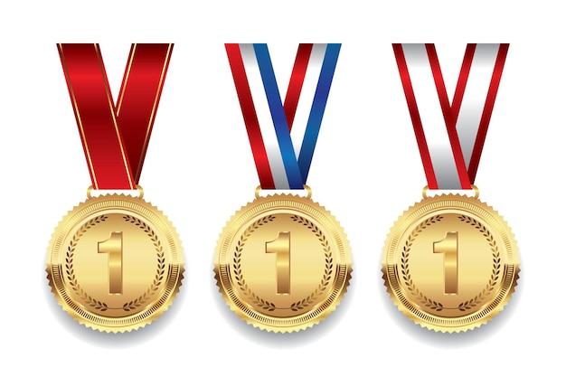 Gold medal with ribbon illustration