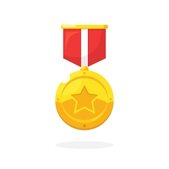 Gold medal with star red ribbon for first place illustration