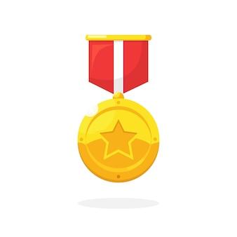 첫 번째 장소 그림에 대 한 스타 빨간 리본이 달린 금메달