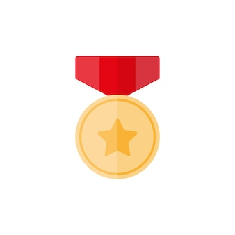 Gold medal with star and red ribbon