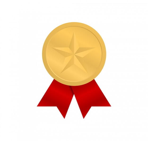 Gold medal with a star and with red ribbons.