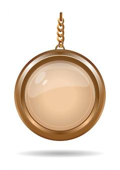 ゴールドチェーンにゴールドのメダリオン。ラウンドキーホルダー。図