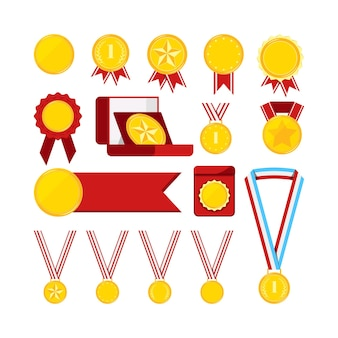 Gold medals with red ribbon set isolated on white background. icon award golden medallion sign first place with star, dots, laurel branches. vector flat design cartoon style clip art illustration.