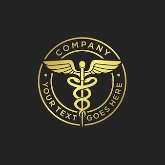 Gold medical caduceus logo template