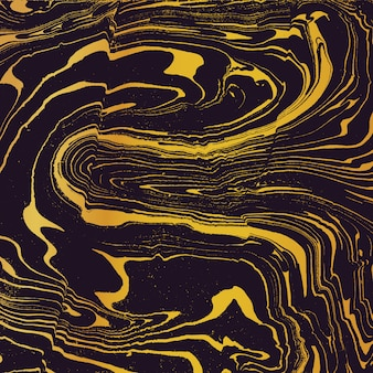 Gold metal color water painting suminagashi abstract decoration hand drawn dark background