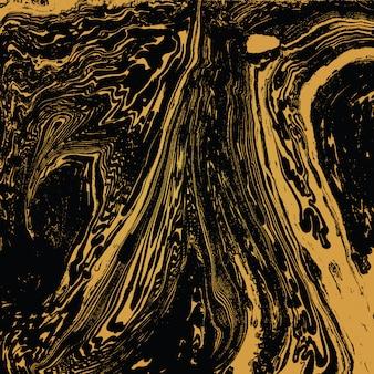 ゴールドメタルカラー水絵墨流し抽象的な装飾手描き暗い背景