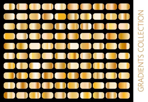 Коллекция золотых металлических градиентов и набор текстур золотой фольги