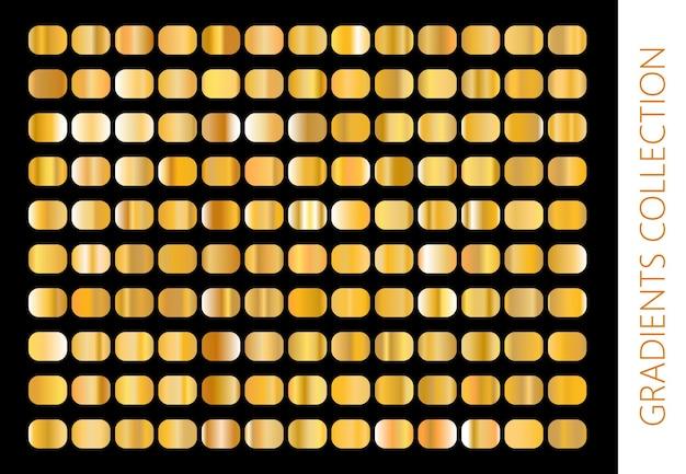 金の金属のグラデーションコレクションと金箔のテクスチャセット