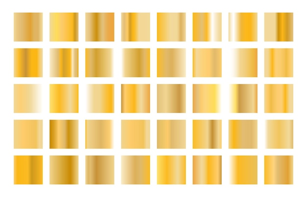 Gold metal gradient collection and gold foil texture set.