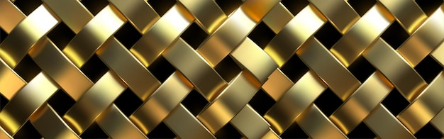 Gold metal mesh or aluminum grid with regular pattern on black background