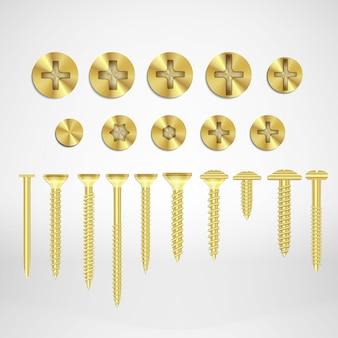 Золотые металлические винты