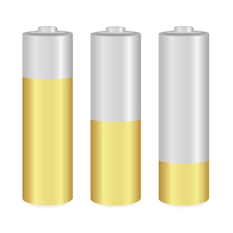 Gold and metallic aa batteries over white background