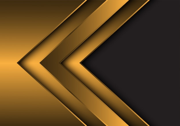 Gold metallic arrow direction with grey blank space background.