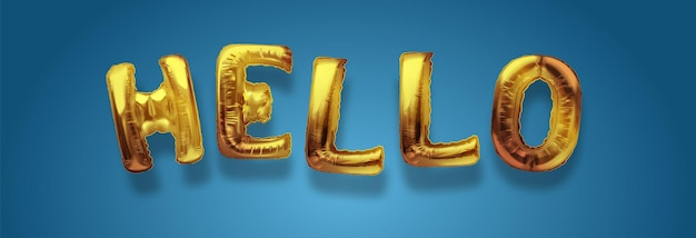 Gold metallic balloon font of upper case letters hello golden art. realistic isolated golden balloon text of hello. concept of welcoming and greeting.