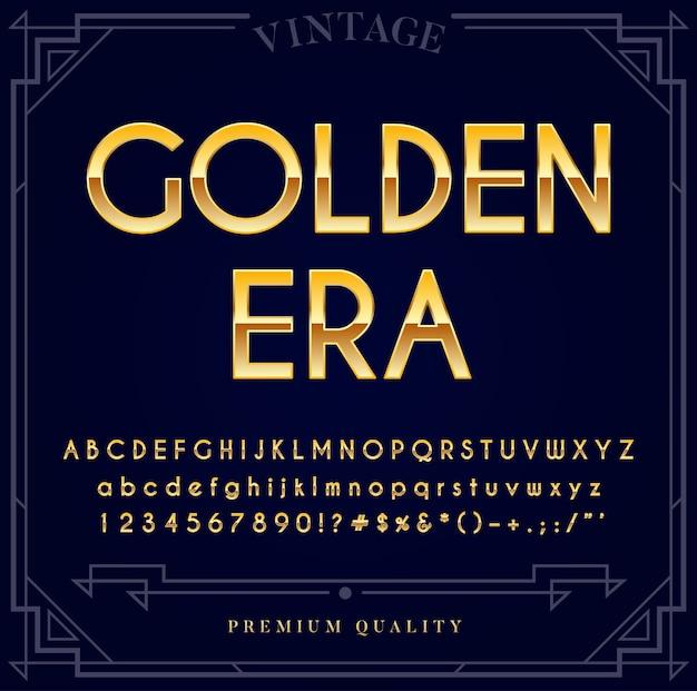 ゴールドメタリックフォントセット。文字、数字、特殊文字