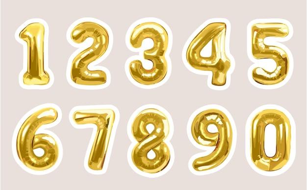パーティーイベント用ゴールドメタリックナンバーバルーンステッカーコレクション