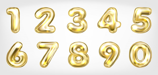 Gold metallic shining number symbols