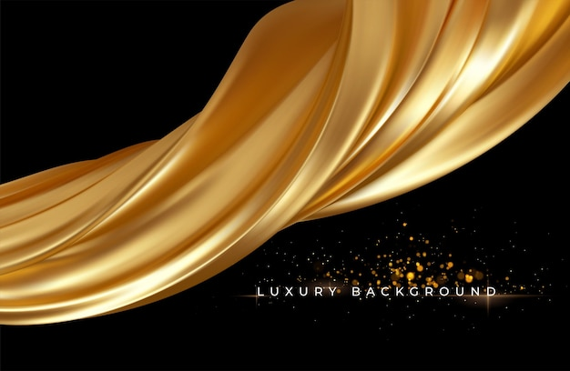 Gold metallic silk flowing wave luxury trendy.