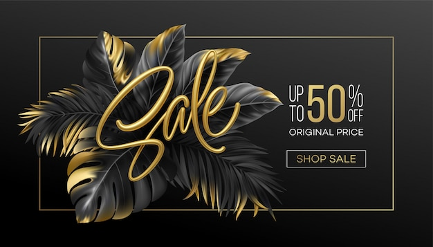 Gold metallic summer sale lettering on a  background from  tropical leaves of plants.