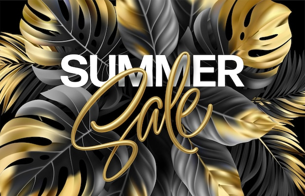 Gold metallic summer sale lettering on a black background