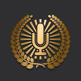 Gold microphone logo