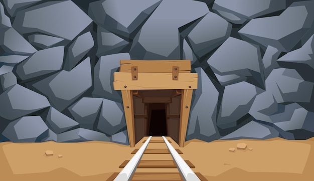 Gold mine with rails and wooden floors. stone rock. vector illustration.
