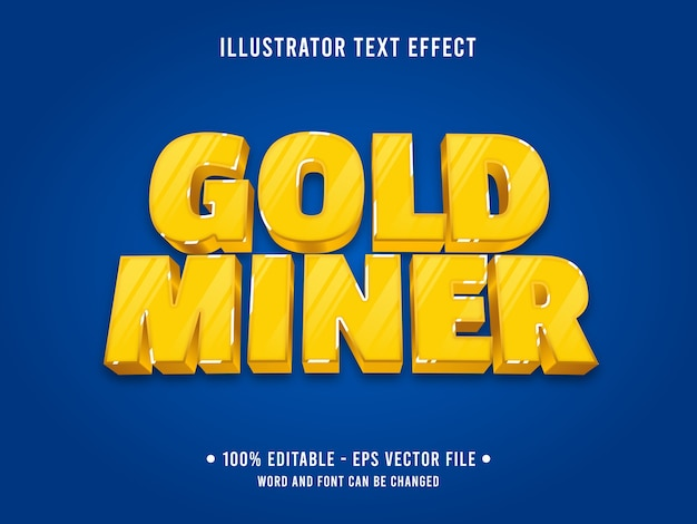 Gold miner editable text effect template