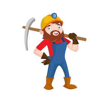 Gold miner worker mining construction people illustration