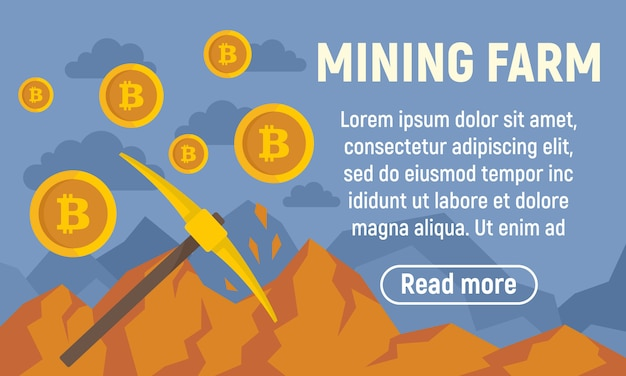 Gold mining farm concept banner, flat style