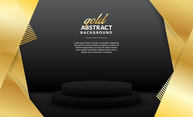 ゴールドモダンな抽象的な製品の背景デザイン