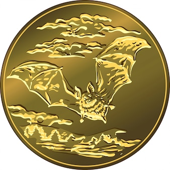 フライングバットと金のお金のコイン