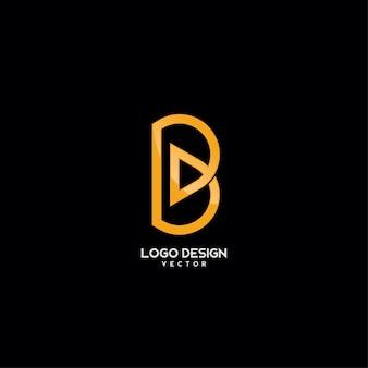 Gold monogram b letter logo design
