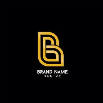 Gold monogram b symbol logo template vector
