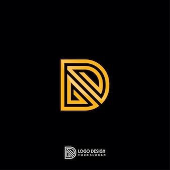 Gold monogram d letter logo template