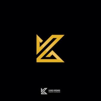 Gold monogram k symbol logo design