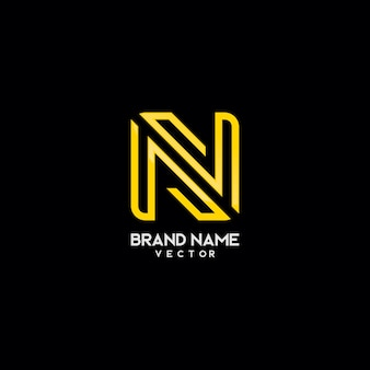 Gold monogram n symbol logo template