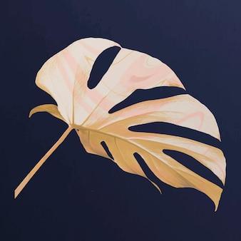 Gold monstera leaf in luxury tone