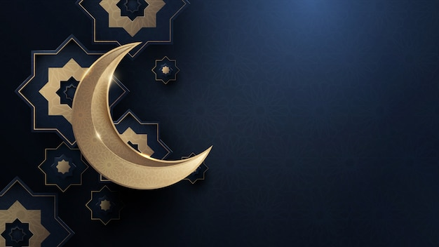 Gold moon and abstract luxury islamic elements background