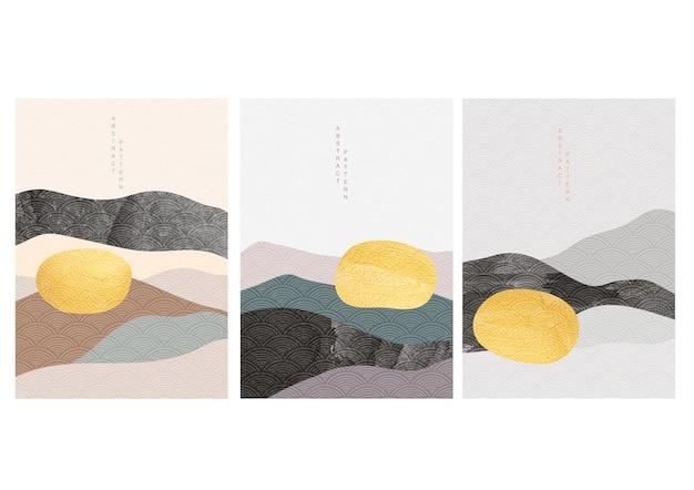 金の月のテクスチャと山の森の背景ベクトル。黒のテクスチャと抽象的な風景。