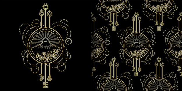 ゴールドマウンテンとサンのプリントとシームレスなパターンセット