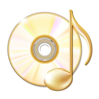 Gold musical note and cd disk - music icon.