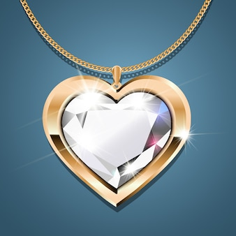 Gold necklace with a diamond.