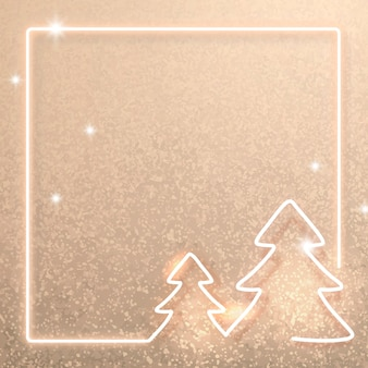 Gold neon christmas frame background