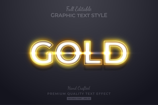Gold neon editable 3d text style effect premium