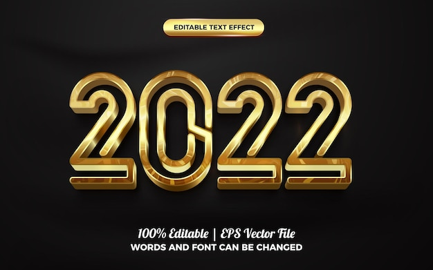 Gold new year 2022 3d editable text effect