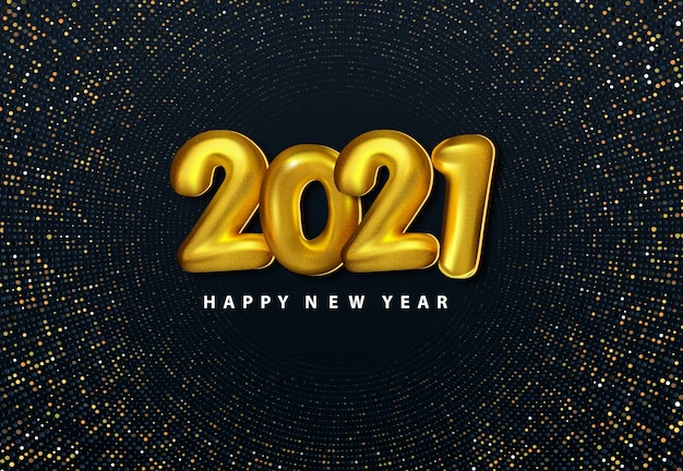 Gold number 2021 new year realistic background