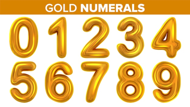 Gold numerals set
