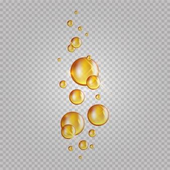 골드 오일 거품. 콜라겐 캡슐 깜박임. 화장품 기름 방울 투명 배경에 고립