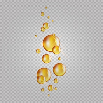 Gold oil bubbles. blink collagen capsules. cosmetics oil drops isolated on transparent background